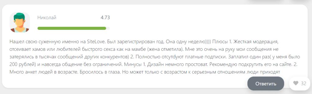Отзыв Николая о Site Love