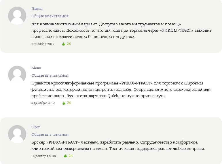 Положительные отзывы о сотрудничестве с компанией РИКОМ-ТРАСТ